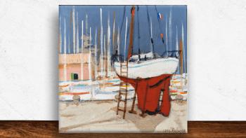 """Peinture """"Sur le port de..."""