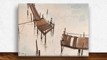 """Peinture """"Le vieux ponton""""..."""