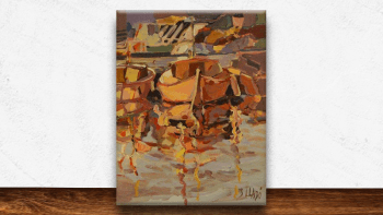 """Peinture """"A quai à Sanary""""..."""