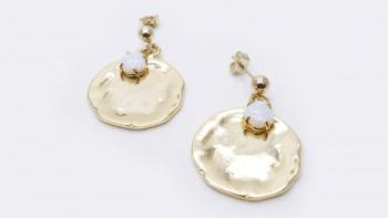 Boucles médaille opale