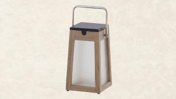 Lanterne Solaire en teck - Hauteur 25cm