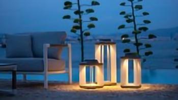 Lanterne Solaire Teck Grisé & Aluminium blanc