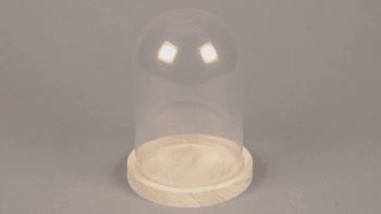 Cloche verre et plateau bois