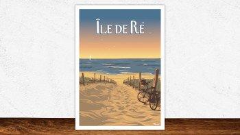 Affiche Île-de-re - bois plage