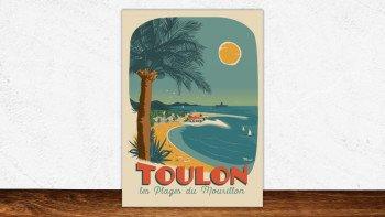 Affiches originales Marcel Toulon - plages du Mourillon