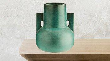 Vase décoratif argile turquoise