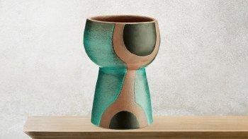 Vase décoratif argile turquoise et noir
