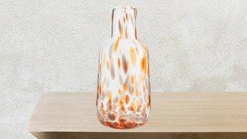 Vase décoratif en verre rouge, orange et jaune