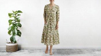 Robe bohème en voile de coton - block print - bleu