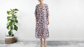 Robe bohème en voile de coton - block print - rouge