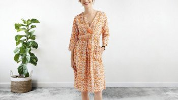 Robe mi-longue orange-safran