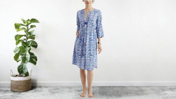 Robe mi-longue Bleue