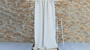 Rideau lin épais naturel bourdon noir-160X270cm