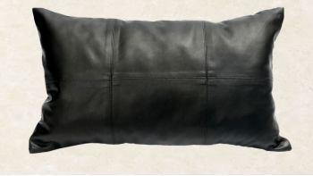 Le Coussin Rectangulaire Six Cuirs - Noir