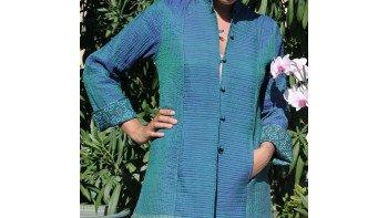 Veste en soie bleu canard TM