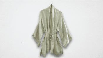 Kimono court en lin vert clair