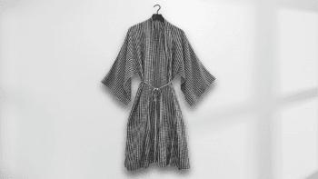 Kimono long à carreaux larges
