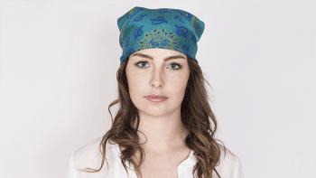 Bandana en soie PALMETTE Bleu