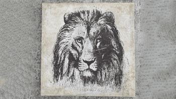 """Cadre bois marouflé """"LION""""..."""